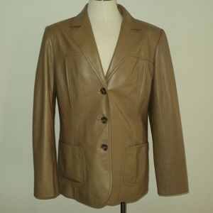 Excellent Talbots Tan Authentic 100% Leather Coat
